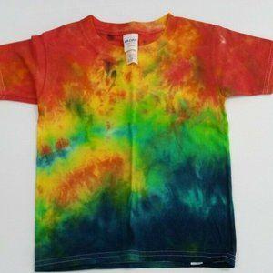 Hand Dyed Tie Dye Tee Shirt Kids 4T Rainbow Gradie